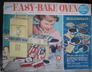 I had the oven and I had the hairstyle. I loved my Easy Bake Oven. A lightbulb baked tiny cakes that made the house smell delicious. Genius.