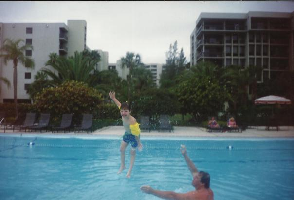 Dad and Charlie in the pool