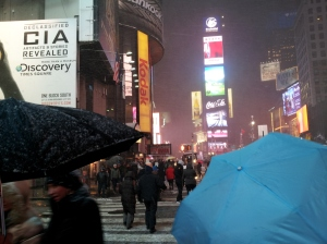 Shot this picture Friday night on our walk home from the theatre. I love that, even in a blizzard, New York rocks!
