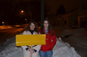 This is Molly and Me recreating American Gothic last night with a broken shovel and a giant mound of snow.