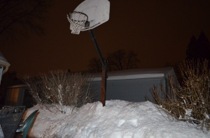 Regulation hoop, giant mound of snow. Sure hope that groundhog was right!