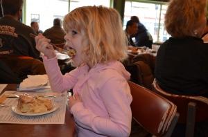 Sunday morning, Erin enjoyed her cinnamon roll...