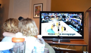 Grandma and Erin helped us cheer on Marquette,
