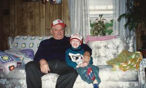 I'm thrilled to have unearthed this picture of Charlie and his great gandpa Micky. Pap was a coal miner and here he and Charlie are sporting company hats.