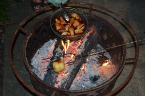 The smell of apple pie wafts across the patio (Thankfully obscuring the smell of singed knee caps)