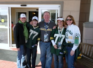 This is Michael, his mom and Dad, my sister Kathy and me at the Super Bowl in 2011.