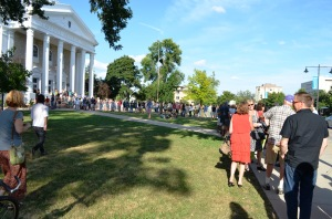 A mile of Mile of Music fans lined up outside the chapel ahead of Friday night's headliner concert with Cory Chisel, Adriel Denae, Norah Jones, The Candles and the Hillary Reynolds Band.