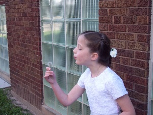 I like this picture of Molly wishing on a dandelion after her First Communion.