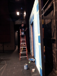 Molly and I popped by one afternoon to help paint sets. I walked in from the sunny parking lot and nearly walked into the wrong door, onto the set of a live play, which would have been quite mortifying, but I startled stage hand steered me in the right direction.