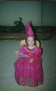 """Molly spent her entire third birthday dressed as a princess. Today, she has a rematted picture on her walls that was a baptism gift from her Aunt Robin. It reads: """"Are you a princess"""" I asked and she said """"No, I'm much more than a princess but you don't have a word for it yet here on earth."""""""