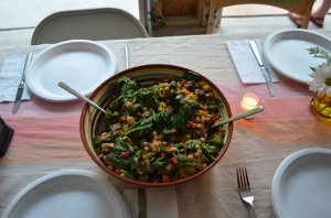 The roasted vegetable salad looked beautiful and tasted delicious.