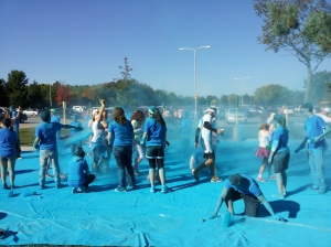 The last color station, blue, turned the slate sidewalk into a shimmering blue sea.
