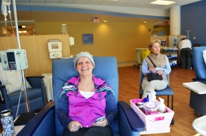 This is Kathy on her last day of chemo. Eyebrow-less, but thrilled to be finished.