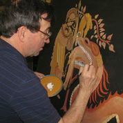 And here he is detailing a side panel from the set of Appleton North's Argonautika.