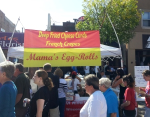 The international booth--egg rolls, french crepes and, wait for it, cheese curds!