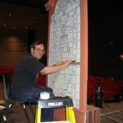 Here is Mr. Hartman doing some preliminary work on what will end up to be a beautiful stain glass window.