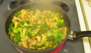 Thirty years of stir fries and this is the favorite. I used a little canola oil to get things started, and finished off with my favorite, House of Tsang Classic Stir Fry Sauce. Really, though, the kohlrabi and the salad turnips that made the difference.