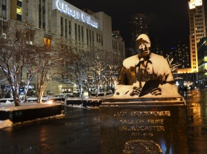 Poor Jack Brickhouse just looked cold and we have nostalgic fondness for the 166-year old newspaper building behind him.