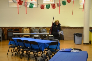 She never took off her new winter coat, but Grandma Peggy spent the whole afternoon helping us set up for our party.