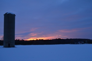 Sunset over a silo