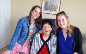 We all enjoy visiting Grandma Mary Jane. Here are Mary Jane, Mary Margaret (Molly), and Katherine.