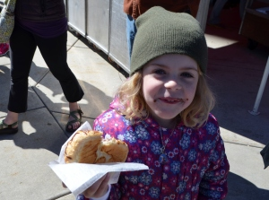 She shared a bite of her giant chocolate croissant with me. Yum!