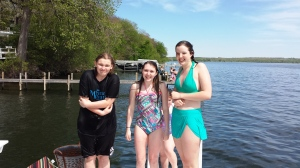 Molly, Jacie and Autumn on the dock