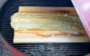 The plank cooks the salmon