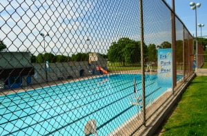 It's pretty thrilling every year to see this swimming pool across the street from our house fill up with water. Bring on the swimmers, the splashers, the high dive belly floppers, the chatty moms, the laughing toddlers, the lifeguards, the sunscreen!