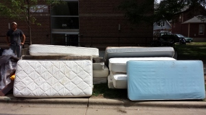 Mattresses on the street