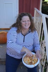 A happy pumpkin sorter