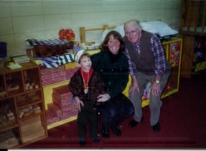 Here's Grandpa Fey during one of his trips to the Community Nursery School and that's Vinnie, fresh off a flawless performance of Run Turkey Run!