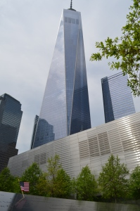 Flag in front of one world trade center