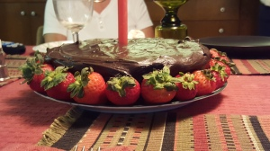 Chocolate fudge strawberry cake