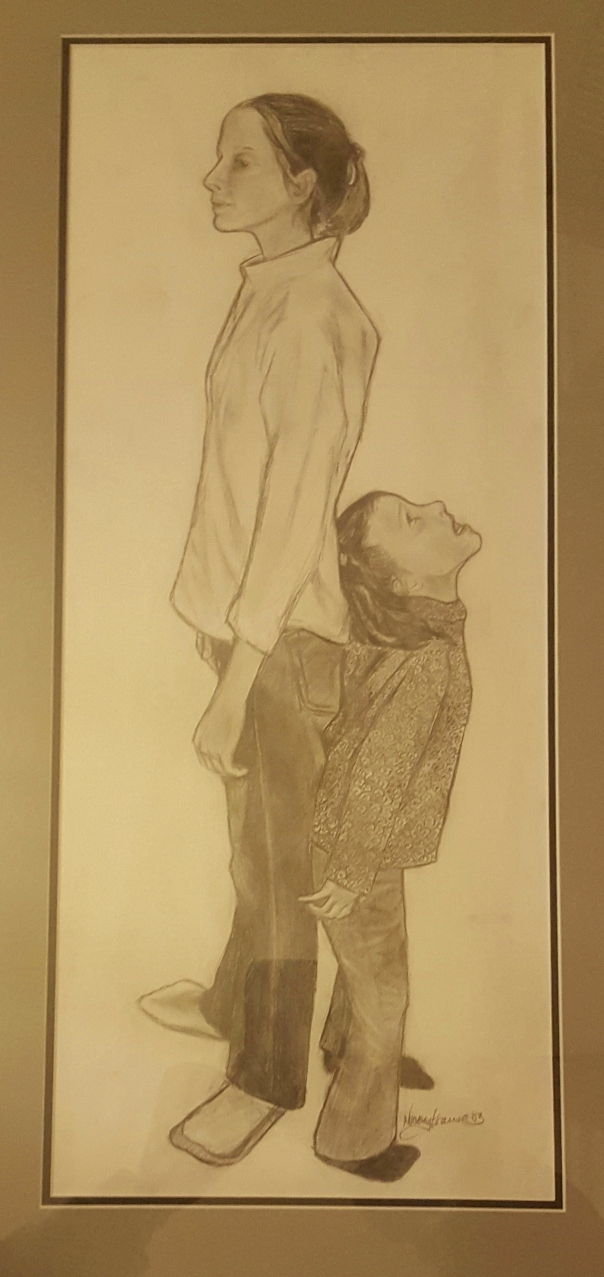 Katherine and Molly pencil sketch