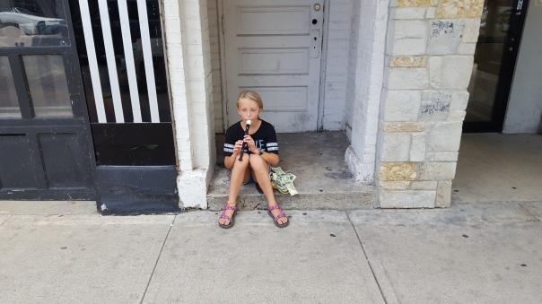Little girl on a doorstep